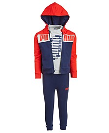 Little Boys 3-Pc. Colorblocked Fleece Hoodie, Fleece Jogger Pants & T-Shirt Set