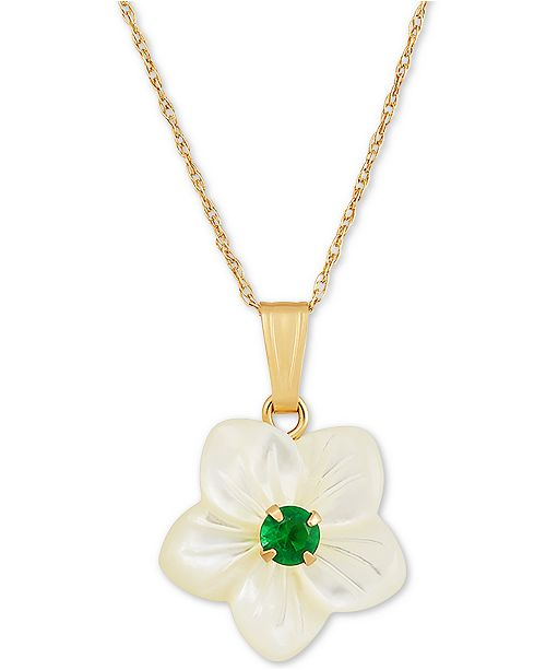 """Macy's Mother-of-Pearl & Lab-Created Emerald (0.12 ct. t.w.) 18"""" Pendant Necklace in 10k Gold (Also in Lab-Created Ruby & Sapphire)"""
