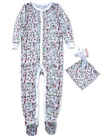 Baby Girls 2-Pc. Unicorn-Print Footed Coverall Pajama & Unicorn Blankie Baby Set