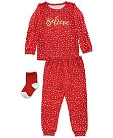 Baby & Toddler Girls 3-Pc. Believe Pajamas & Socks Set