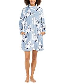 Women's Fleece Floral-Print Zipper Short Robe