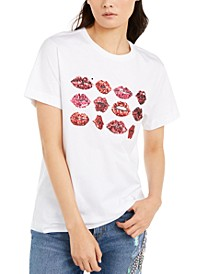 Cotton Sequined Lips Top
