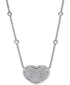 "Diamond Pavé Heart Pendant Necklace (2-1/10 ct. t.w.) in 14k White Gold, 15"" + 2"" extender"