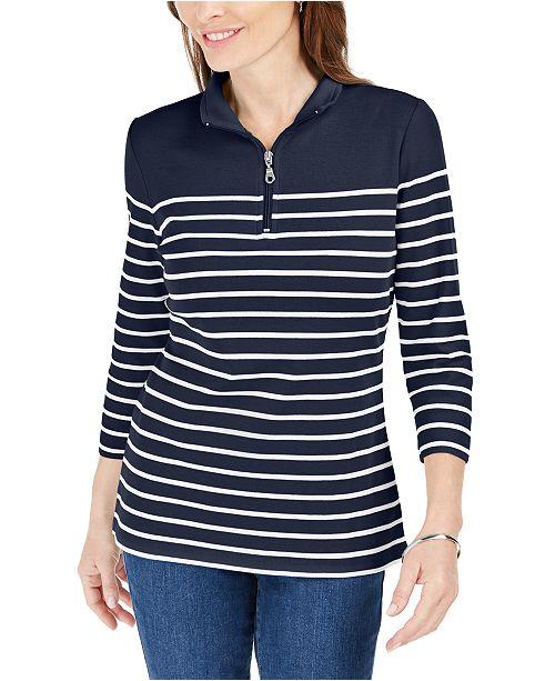 Karen Scott Petite Striped Zip-Front Top, Created For Macy's