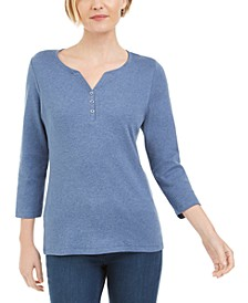 Petite 3/4-Sleeve Henley Shirt, Created for Macy's