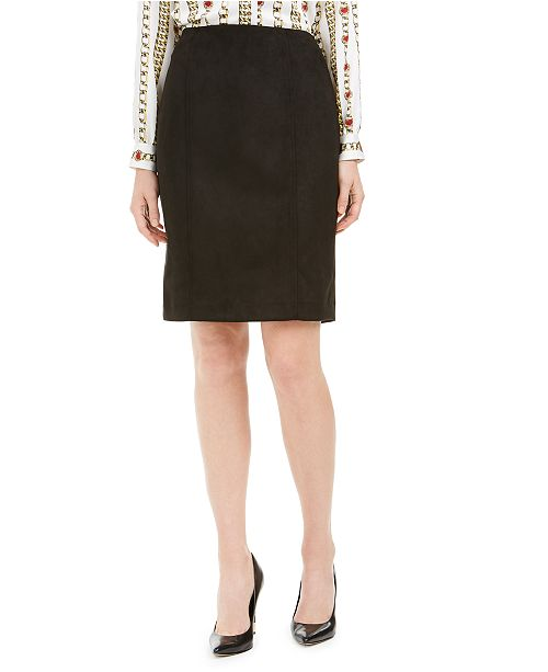 Kasper Faux-Suede Pencil Skirt