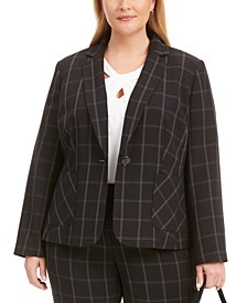 Plus Size Windowpane Notch-Collar Blazer