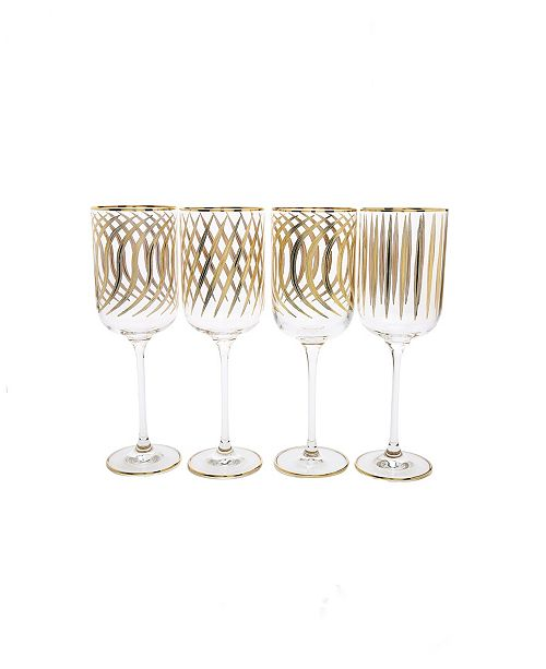 Classic Touch Set of 4 Mix and Match Wine Glasses with 24K Gold Design