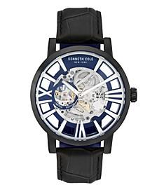 Men's Black Genuine Leather Strap Watch, 46mm