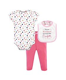 Baby Girl and Boy Bodysuit, Pant and Bib