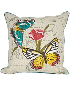 "Papillion Emboridery Pillow Collection, 18"" x 18"""