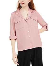 Juniors' Boxy Button-Up Shirt