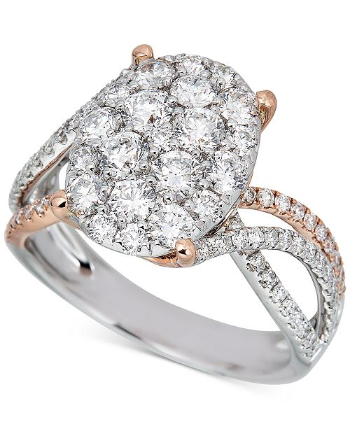 Macy's Diamond Oval Cluster Two-Tone Ring (1-3/4 ct. t.w.) in 14k White Gold & Rose Gold