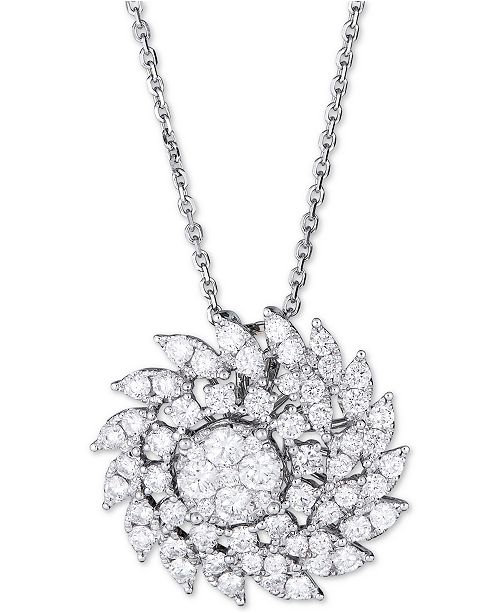 "Macy's Diamond Swirl Cluster Pendant Necklace (2-1/2 ct. t.w.) in 14k White Gold, 16"" + 2"" extender"
