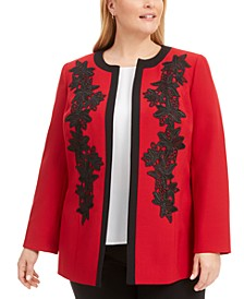 Plus Size Collarless Lace-Appliqué Jacket