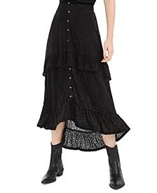 Juniors' Ruffle-Trimmed Burnout Velvet Skirt, Created For Macy's