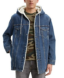 Men's Long Sherpa-Lined Hooded Trucker Jacket