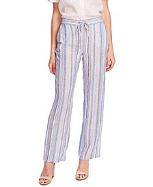 Striped Linen Pull-On Pants