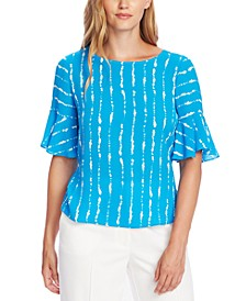 Striped Flutter-Cuff Top