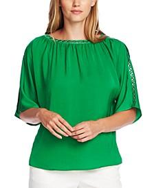 Embellished Split-Sleeve Top
