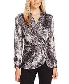 Snake-Print Peplum Twist Top