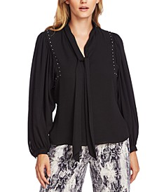 Embellished Puff-Shoulder Tie-Neck Blouse