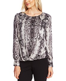 Snake-Print Faux-Wrap Top
