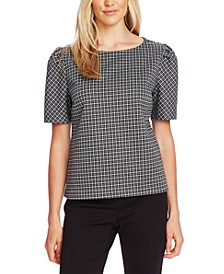 Checked Elbow-Length-Sleeve Top