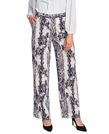 Snake-Embossed Wide-Leg Pants