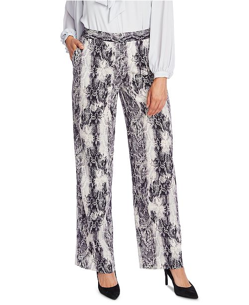 Vince Camuto Snake-Embossed Wide-Leg Pants