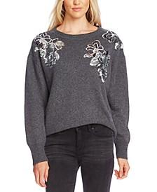 Embellished-Floral Sweater