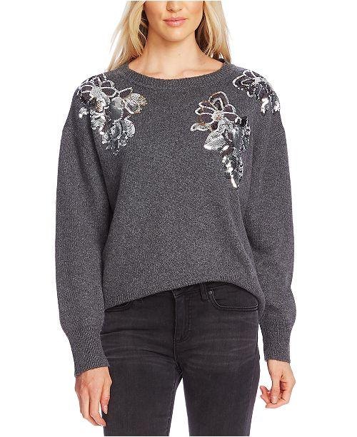 Vince Camuto Embellished-Floral Sweater