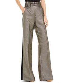 Dion Metallic-Striped Pants