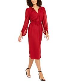 Sheer Sleeve Midi Dress