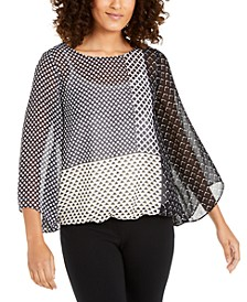Petite Angel-Sleeve Printed Top, Created For Macy's