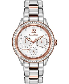 Women's Chronograph Eco-Drive Silhouette Crystal Two-Tone Stainless Steel Bracelet Watch 37mm FD2016-51A