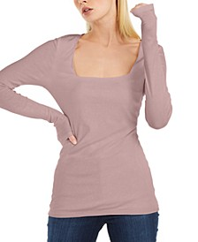 INC Plus Size Square-Neck Rib Top, Created for Macy's