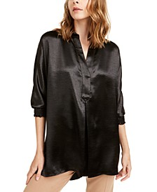 Crumpled Split Neckline Blouse