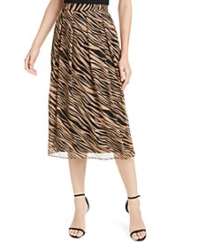 Pleated Zebra Print Midi Skirt