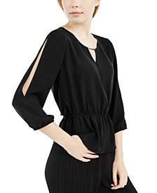 Juniors' Split-Sleeve Cinched-Waist Top