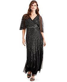 Adrianna Papell Beaded Kimono-Sleeve Gown