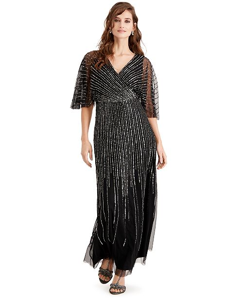 Adrianna Papell Adriana Papell Beaded Kimono-Sleeve Gown