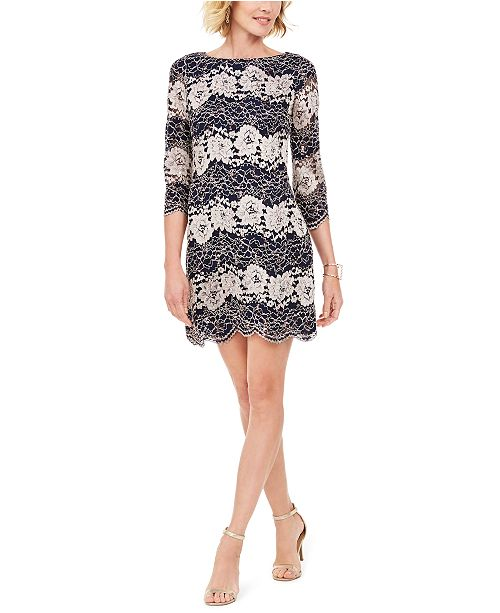 Jessica Howard Petite Floral-Lace Scalloped-Trim Dress