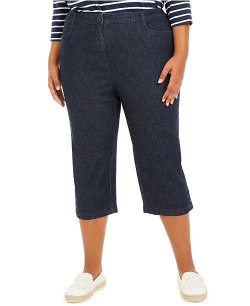 Karen Scott Plus Size Denim Capri Pants, Created For Macy's