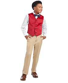 Big Boys 2-Pc. Tree Print Dress Shirt & Plaid Bow Tie Set, Classic-Fit Velvet Suit Vest & Fine Twill Pants