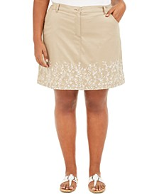 Plus Size Floral Embroidered Skort, Created for Macy's