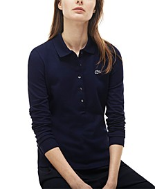 Long-Sleeve Slim-Fit Stretch Pique Polo Shirt