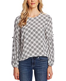 Elegant Plaid Puff Lantern-Sleeve Top