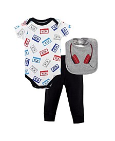 Baby Boy Bodysuit, Pant and Bib