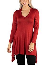 24Seven Comfort Apparel Women Long Sleeve Side Slit Hem Tunic Top